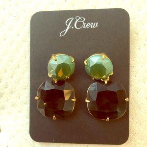 J crew enamel emerald earrings